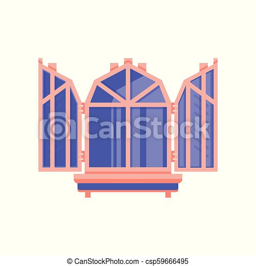 Wooden window with shutters, architectural design element vector Illustration on a white background - csp59666495