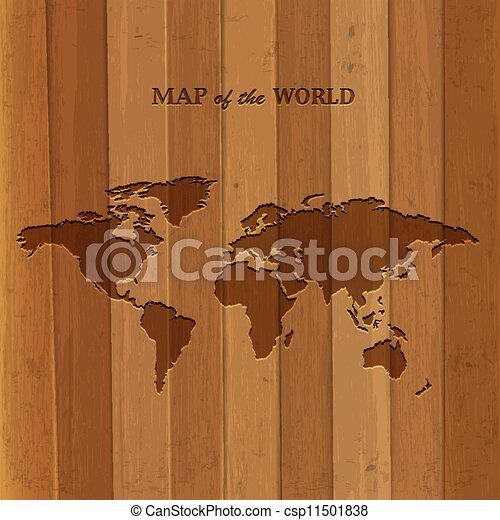 wooden world map. vector illustration.