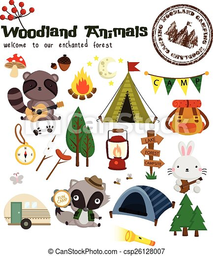 Woodland Animal Camping Vector Set - csp26128007