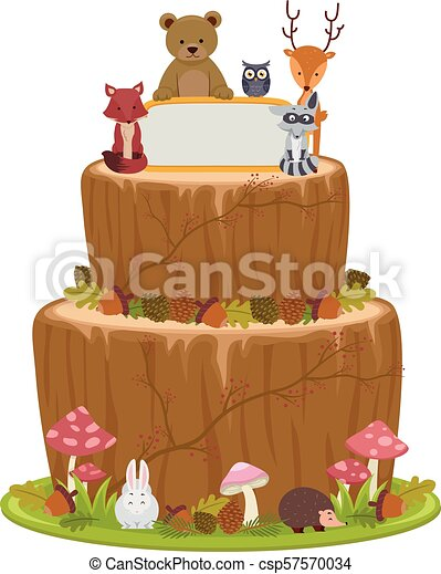 Outstanding Woodland Animals Cake Illustration Illustration Of A Cake In Personalised Birthday Cards Beptaeletsinfo