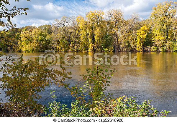 Woodlands in Autumn Along Minnesota River - csp52618920
