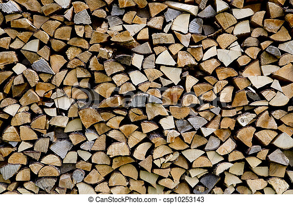 Woodpile are stacked from differen kind types - csp10253143