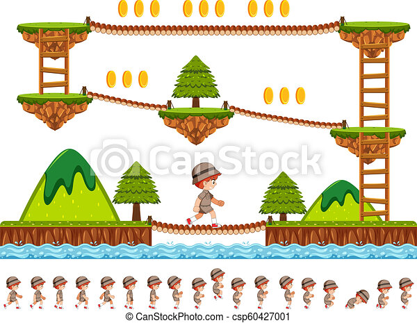 Woods game design with cartoon character - csp60427001