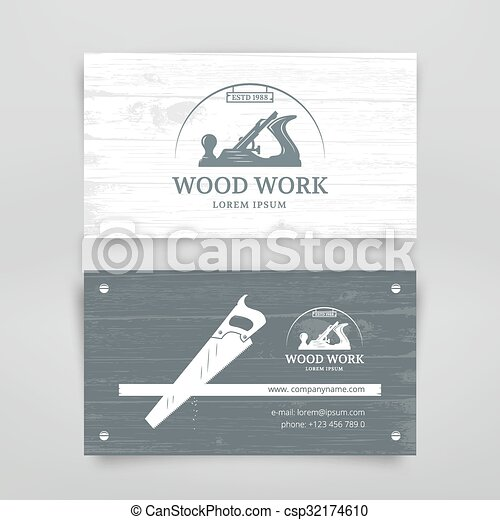 Woodwork vintage card woodwork vintage style business card design woodwork vintage card csp32174610 reheart Choice Image
