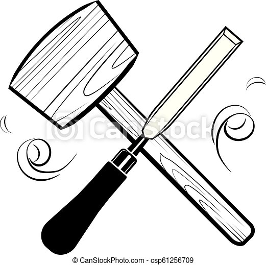 Woodworking And Carpentry Tools Emblem Logo Vector Mallet And Chisel