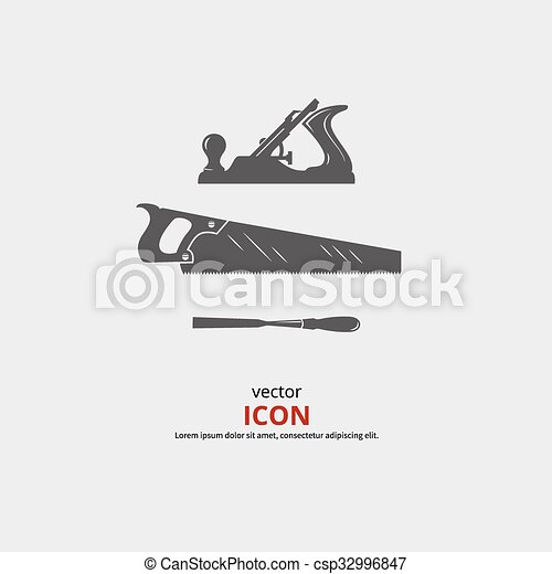 Woodworking Tools Icons Carpentry Vector Black Silhouette