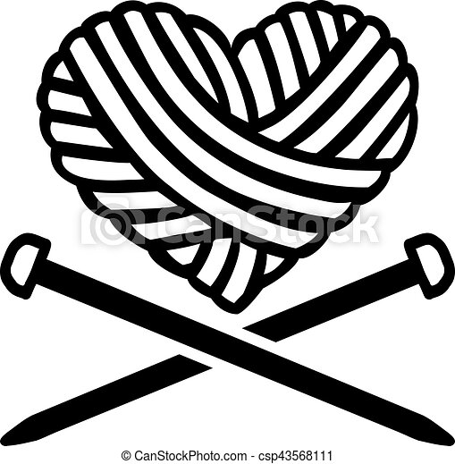Wool ball heart with crossed needles - csp43568111