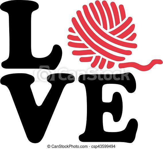Wool ball knitting love - csp43599494