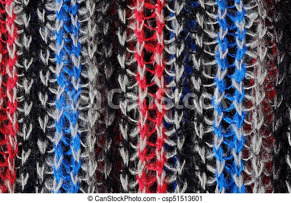Wool knitted scarf blue red white colors - csp51513601
