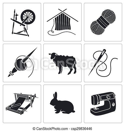 Wool, knitting Icons.  - csp29836446
