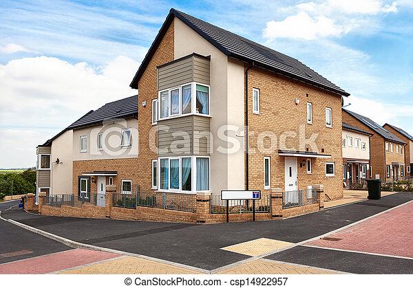 woongebied, typisch, engelse , landgoed, huisen - csp14922957