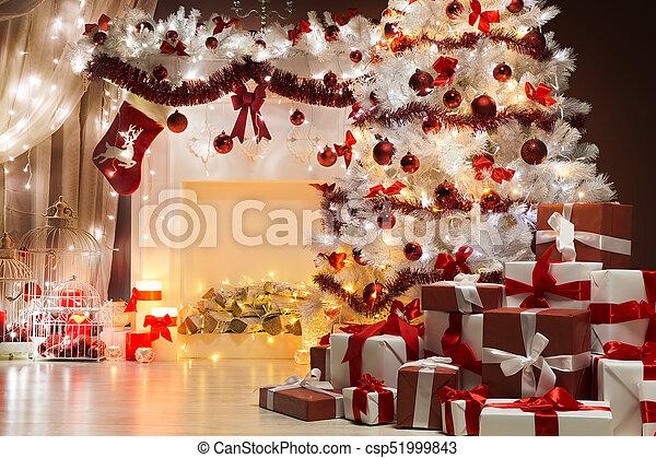 Woonkamer, boom steekt aan, kerstversiering, scène, interieur ...