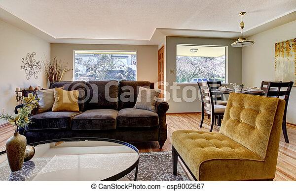 Woonkamer, bruine sofa, gele, chair. Woonkamer, furniture., bruine ...
