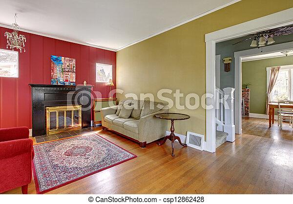 Woonkamer, gele muren, fireplace., rood. Levend, oud, kamer ...