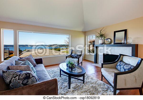woonkamer, gemeubileerd, verbazend, venster, rijk, aanzicht - csp18092819