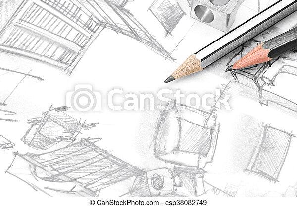Woonkamer, gereedschap, bovenzijde, moderne, freehand, tekening ...
