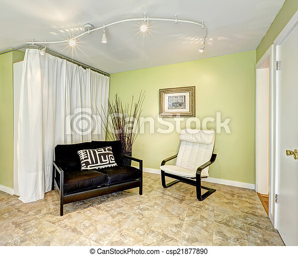 Woonkamer, gordijnen, platteland, woning, interior., gele muren, licht.