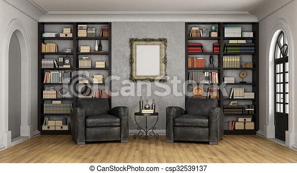 Woonkamer Met Boekenkast : Woonkamer groot boekenkast luxe armstoelen. levend volle kamer