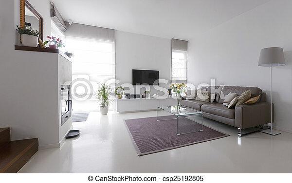 Woonkamer, lederene sofa, glas tafel. Levend, taupe, kamer ...