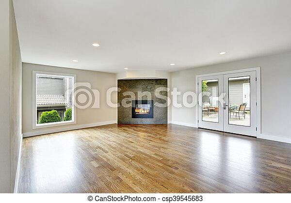 Woonkamer, licht, tonen, interieur, fireplace., lege. Woonkamer, usa ...
