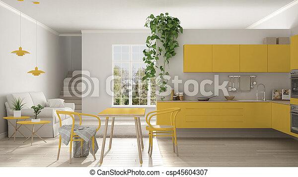 Woonkamer, minimalist, ruimte, moderne, keuken, gele, scandinavische ...