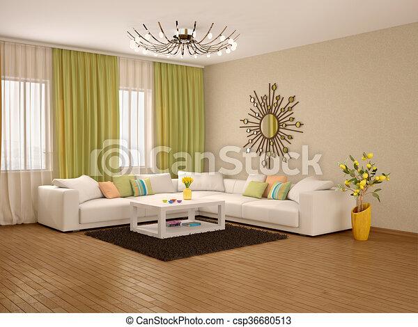 Woonkamer, moderne, illustratie, kleuren, warme, interieur, 3d.