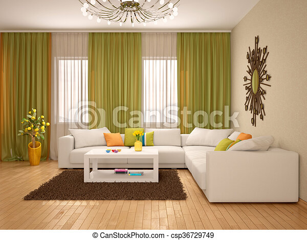 Woonkamer, moderne, illustratie, kleuren, warme, interieur ...