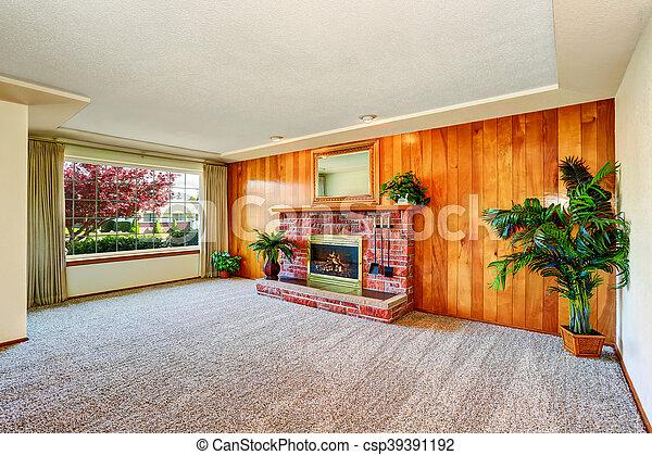 Openhaard In Woonkamer : Woonkamer muur hout openhaard lege paneel. levend usa trim