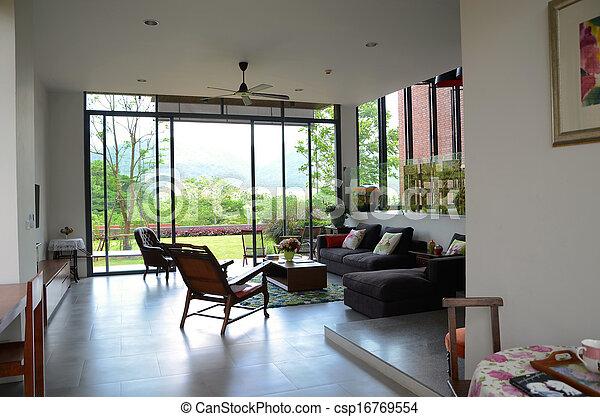 Woonkamer, ouderwetse , meubel. Versiering, levend, meubel, kamer ...