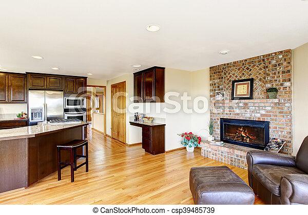 Keuken Plattegrond Open : Woonkamer plattegrond baksteen fireplace. open keuken
