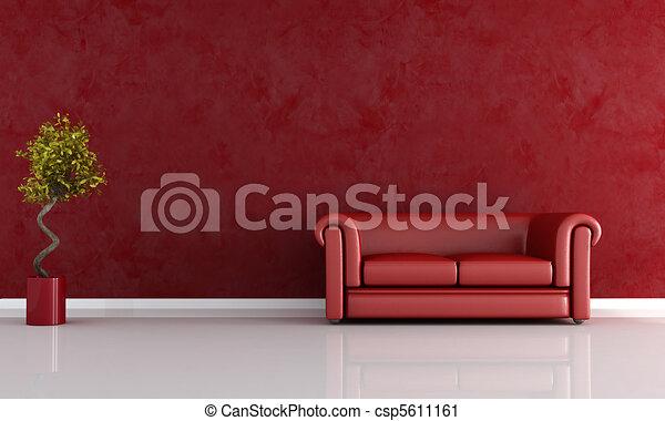 Woonkamer, rood. Lederene sofa, -, tegen, vertolking, rood, stucco muur.
