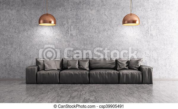 Woonkamer, vertolking, muur, sofa, op, beton, interieur, 3d ...