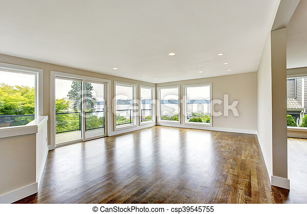 Woonkamer, vloer, loofhout, licht, tonen, interieur, lege. Woonkamer ...