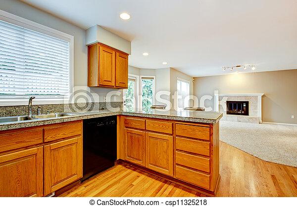 woonkamer, woning, groot, interior., open, lege, keuken - csp11325218