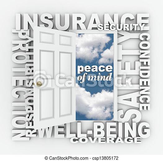 woord, collage, bescherming, deur, veiligheid, verzekering, 3d - csp13805172