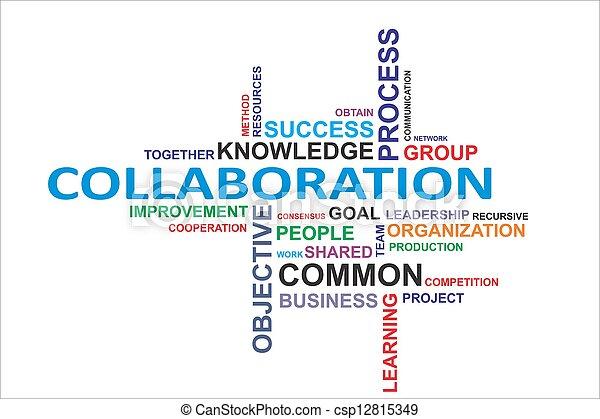 woord, samenwerking, -, wolk - csp12815349