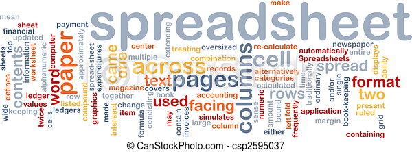 woord, spreadsheet, wolk - csp2595037