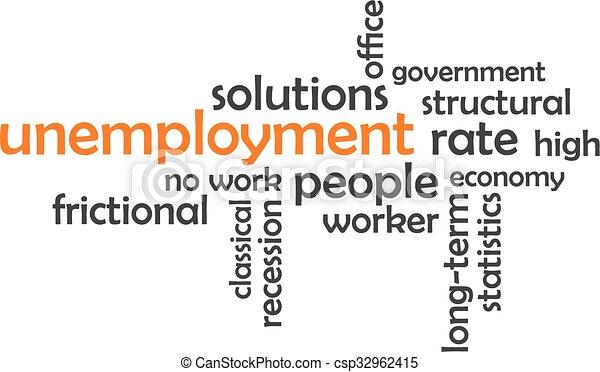 woord, -, wolk, werkloosheid - csp32962415