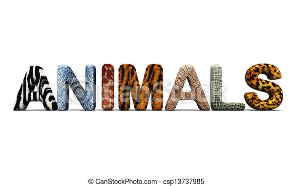 Word Animals With Fur Letters 3d Render Stock