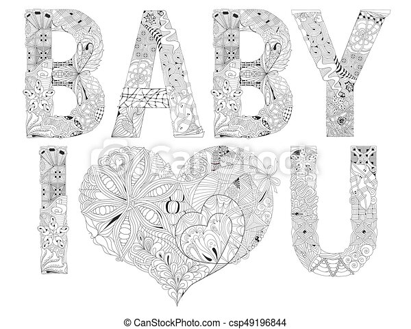 Word Baby I Love You For Coloring Vector Decorative Zentangle