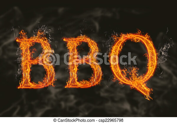 Word bbq with flaming fire effect - csp22965798