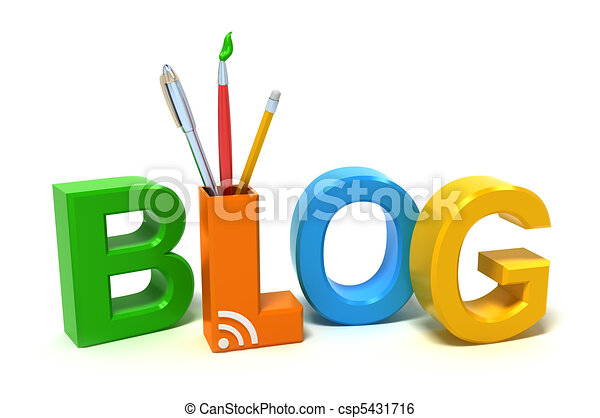 Word Blog with colourful letters - csp5431716