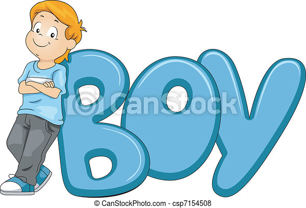 Illustration Of A Kid Posing Beside The Word Boy