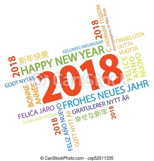 word cloud with new year 2018 greetings csp52511335
