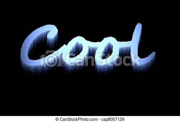 word cool in frozen icicle effect stock image with the word cool in