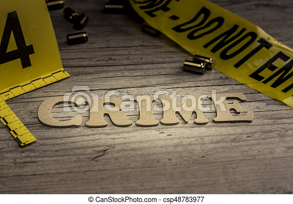 Word crime concept with wooden letters - csp48783977