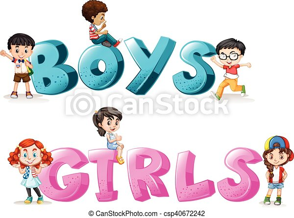 Word Design With Word Boys And Girls Illustration