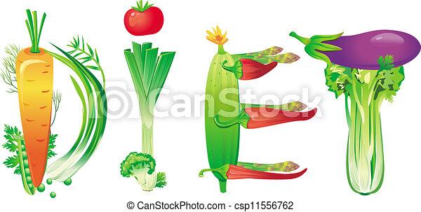 Word Diet Made Of Fresh Vegetables Vector