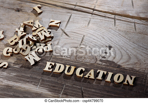 Word education made with wooden letters - csp44799070