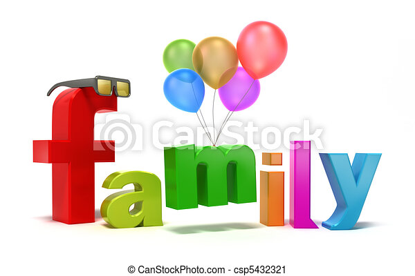 Word family with colourful letters. - csp5432321